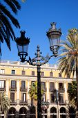 Barcelona Plaza Real Placa Reial square with archs arcade poster