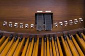 Picture of organ pedals inside a church poster
