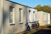 Emergency accommodation for refugees at the edge of the city of Magdeburg in Germany poster