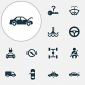 Automobile icons set with stop, chassis, washer fluid and other repairing elements. Isolated vector illustration automobile icons. poster