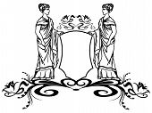 decorative element with ancient greek goddesses holding a shield poster