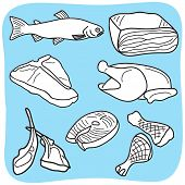 Drawing of meat fish and poultry - hand-drawn illustration poster