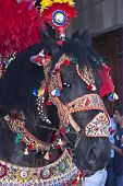 """POLIZZI GENEROSA SICILY - AUGUST 21: Folkloristic parade of traditional horse-cars in Sicily during the International """"Festival of hazelnuts"""" : August 21 2011 in Polizzi GenerosaSicilyItaly poster"""