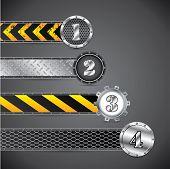 Metallic industrial gradation labels on dark background poster