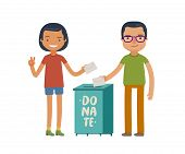 People make donations. Donate, charity concept. Funny vector illustration poster