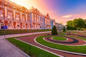 Saint Petersburg, Russia - June 21, 2015: Tsarskoye Selo Palace In Pushkin City, Near Saint Petersbu