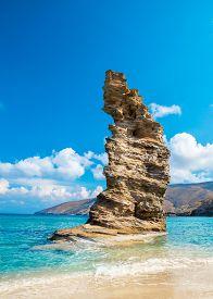 Photo Of Iconic Beach Of Grias Pidima Near Village Of Korthi, Andros Island, Cyclades, Greece