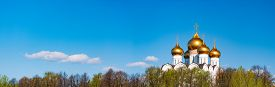 Old Church In Yaroslavl, Russia, Europe. Panoramic Photo With Blue Cloudy Sky In Background. Travel