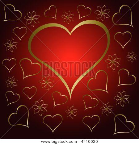 Red Valentines Hearts Illustration