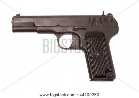 Soviet handgun TT (TulaTokarev) isolated on white background poster