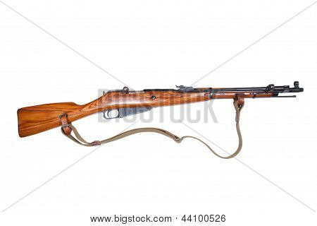 old russian mosin's rifle isolated on white poster