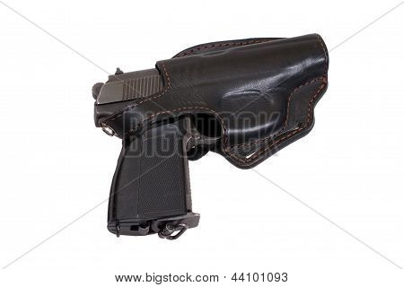 Russian handgun PMM-Makarov in a holster isolated on a white background poster