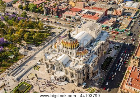 Aerial view of the Fine Arts Museum in Mexico City poster