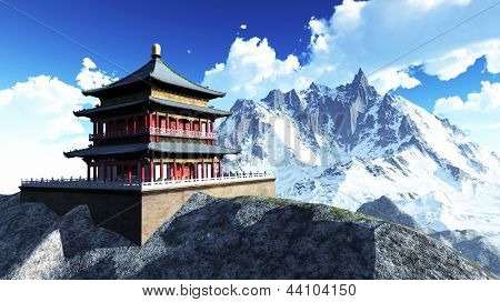 Sun temple - Buddhist shrine in the Himalayas