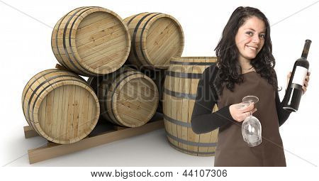 Young woman holding a wine bottle and two glasses, with wine barrels at the background