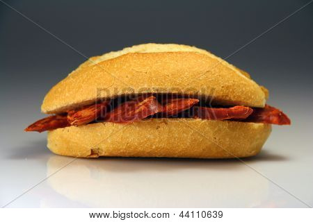 Sandwich Spain Typical Bread With Sausage