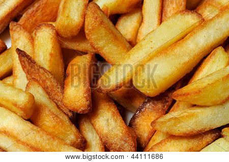 Freshly cooked French fries.