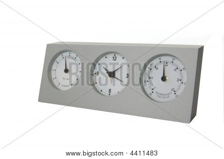 Analog weather station isolated on white background poster