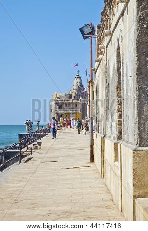 A Temple At The End Of The Promenade Dwarka
