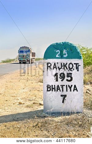 95 Kilimeters To Rajkot Milestone