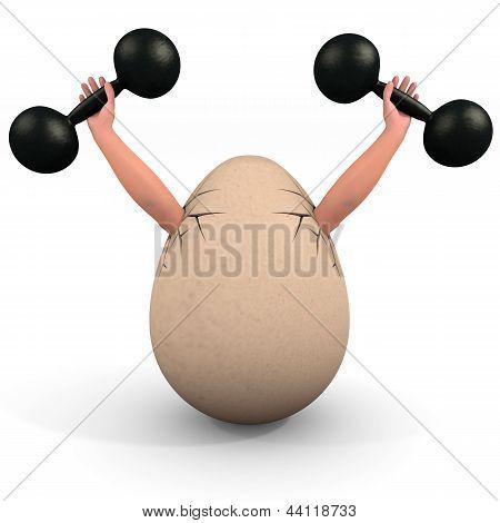 Egg Holds A Dumbbell