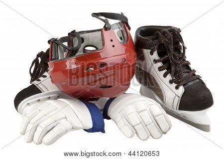 helmet, gloves, skates