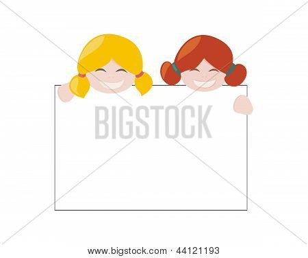 Blond and ginger hair vector hostess girls smiling, holding and showing big empty page add.
