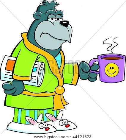 Cartoon grouchy gorilla