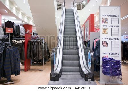 Escalators Inside Shopping Center