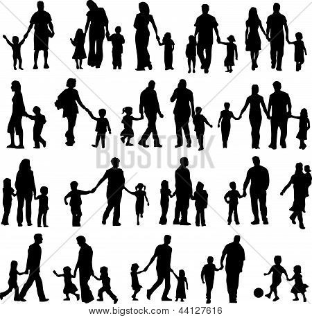 Child And Parents Silhouette