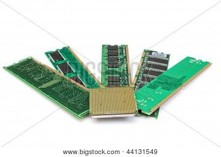 Details Of Computer Memory Ram And Cpu Of The Old Generation. On A White Background.
