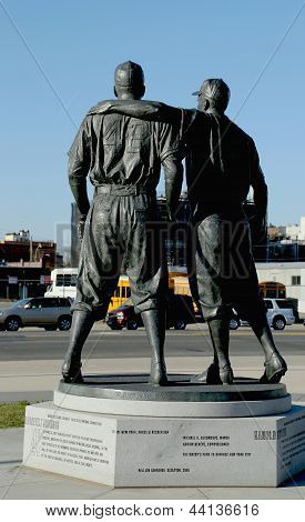 Jackie Robinson and  Pee Wee Reese Statue in Brooklyn in front of MCU ballpark