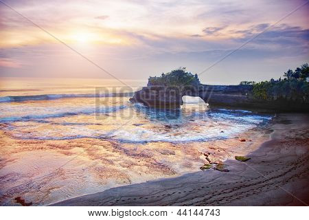 Pura Batu Bolong - small hindu temple near Tanah Lot, Bali, Indonesia poster
