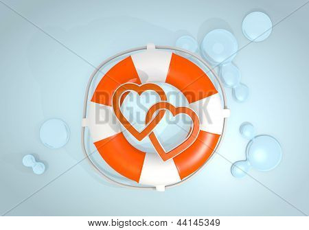 3d render of a playful two hearts sign rescued by a lifesafer