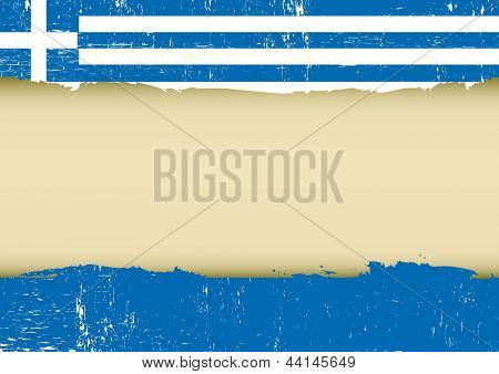 Greek scratched flag. A greek flag with a large frame for your message