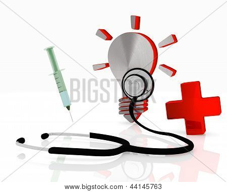 idea symbol with stethoscope and injection