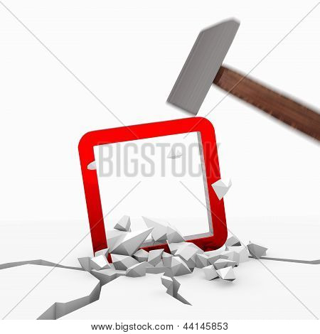 rectangle symbol smashed with a hammer