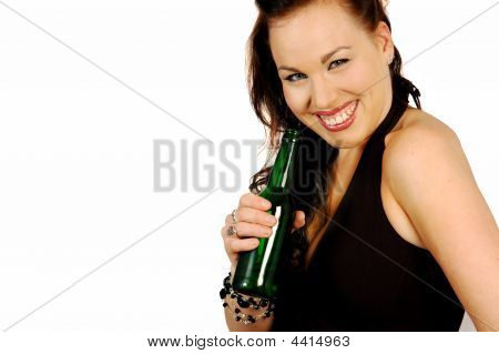 Smiling Brunette With A Bottle Of Beer