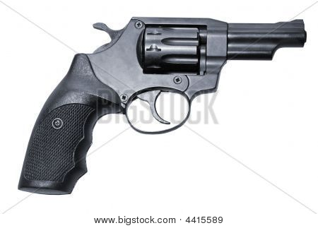 Isolated Black Firearm Revolver