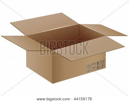 Vector Cardboard Box With Transportation Symbol.