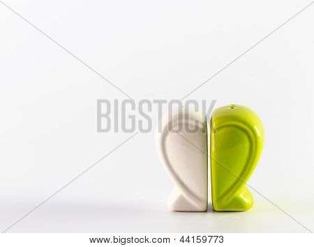 Green Heart Containers For Salt And Pepper