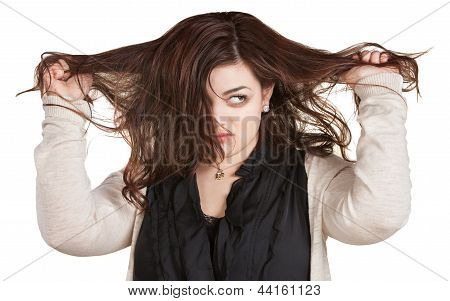 Woman Pulling Messy Hair