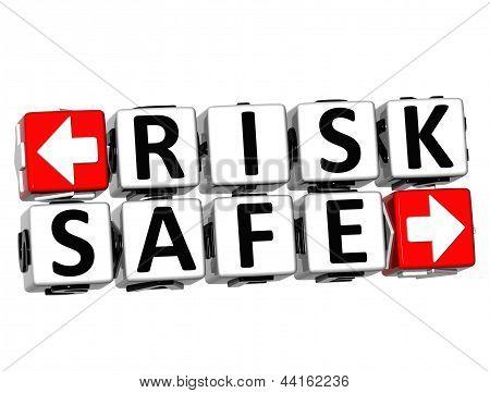 3D Risk Safe Button Click Here Block Text