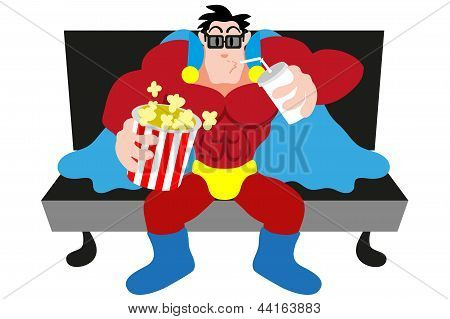 Superhero Watching A Movie
