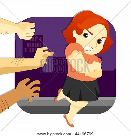 Woman Escaping Assault_stock