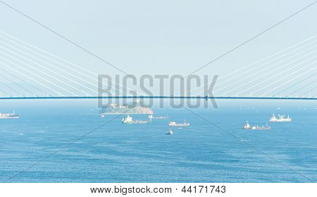 Central part of bridge to Russian Island, the longest cable-stayed bridge in the world, at Russian Vladivostok City