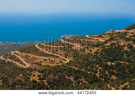 Dangerous Serpentine In Mountains At Crete, Greece