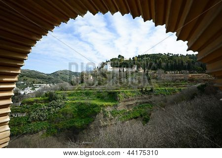 Generalife Seen From The Alhambra In Granada, Andalusia, Spain