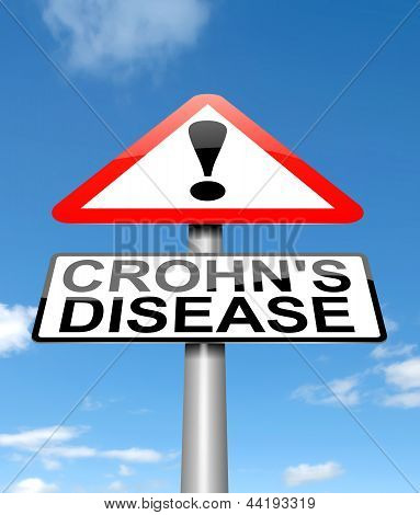 Illustration depicting a sign with a Crohn's Disease concept. poster