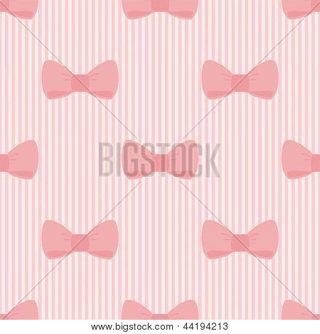 Seamless vector pattern with bows on a pastel pink strips background. For cards, invitations, wedding or baby shower albums, backgrounds, arts and scrapbooks. poster